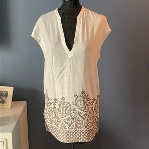 Athleta White linen embroidered beach cover up